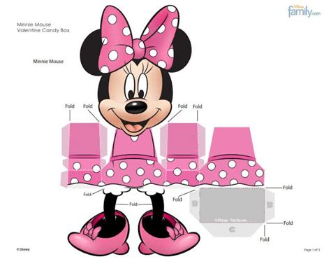 Free Minnie Mouse Printable Favor Box Paper Craft   minnie