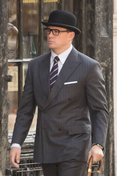 Channing Tatum in a bowler hat on the set of Kingsman: The