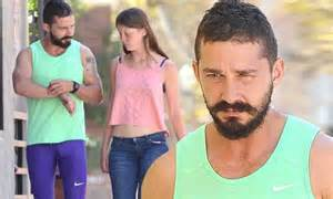 Shia LaBeouf sports green tank top while out to lunch with